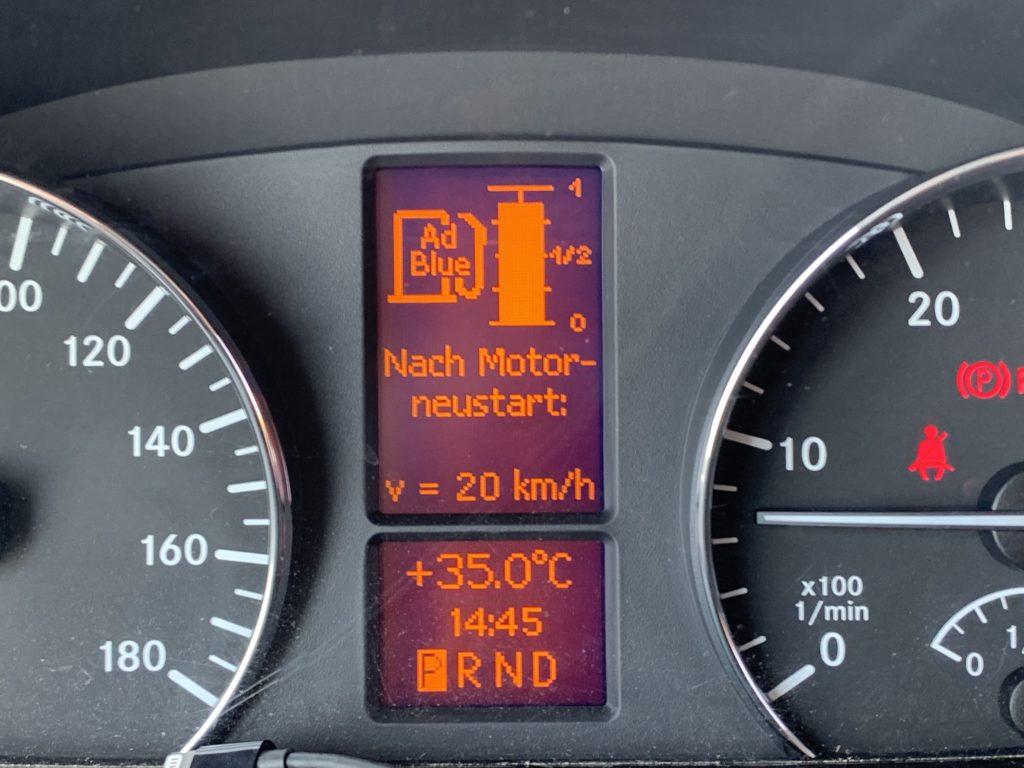 Nach dem nächsten Motorstart 20 km/h - eine Horrormeldung.