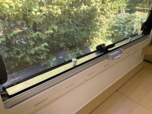 Fenstersicherung betriebsbereit. Innenansicht
